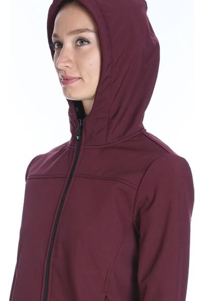 Sportive Kadın Bordo Kapüşonlu Outdoor Mont 710755-BRD