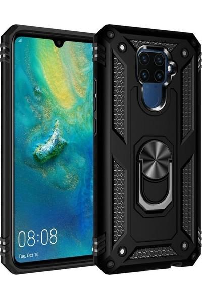 Madam Case Huawei Mate 30 Lite Kılıf Ultra Korumali Çift Katmanlı Manyetik Vega Kapak + Nano Cam Ekran Koruyucu Rose Gold
