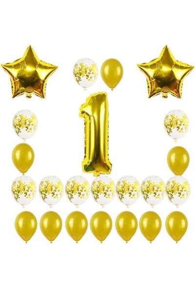 Kullan At Party 1 Yaş Altın Yıldızlar Balon Set