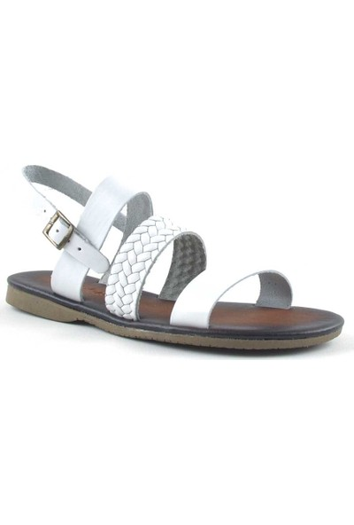 Pink Angel Deri Beyaz Kadın Bodrum Sandalet