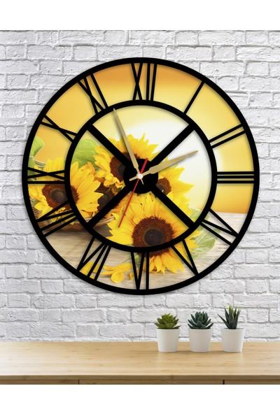 Homecept Ay Çiçeği Temalı Roma Rakamlı Duvar Saati