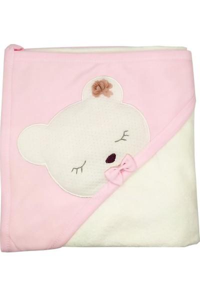 AlpCollection Ayıcık Desenli Bebek Banyo Havlusu - Pembe