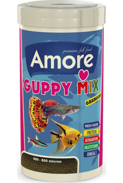 Amore Guppy Mix Granules 250 ml Astaxanthin ve Algea Tropical Lepistes Melek Tetra Tropikal Balık Yemi