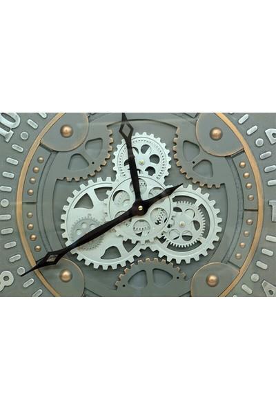 Crownwell Yuvarlak Roma Rakamlı Time Company Bazaltoksit Çarklı Metal Duvar Saati