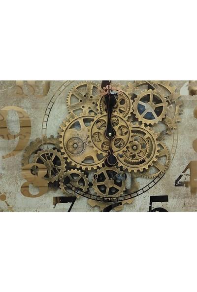 Crownwell Kare Roma Rakamlı Spintime Aynalı Yeşiloksit Çarklı Metal Duvar Saati