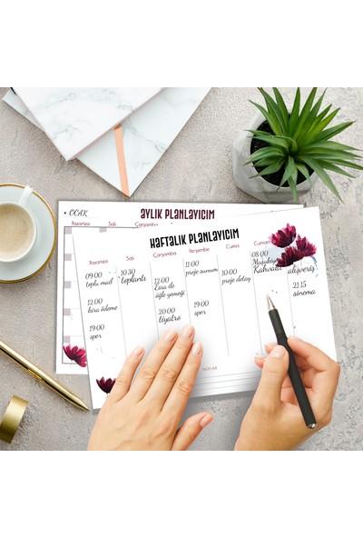 Mefamax Çiçekli Haftalık ve Aylık Planlayıcı Set