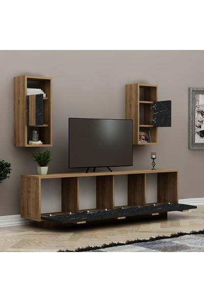 Hepsi Home Siena Tv Ünitesi - Ceviz / Siyah Mermer
