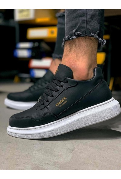 Knack Yüksek Taban Günlük Ayakkabı 040 Siyah (Beyaz Taban)