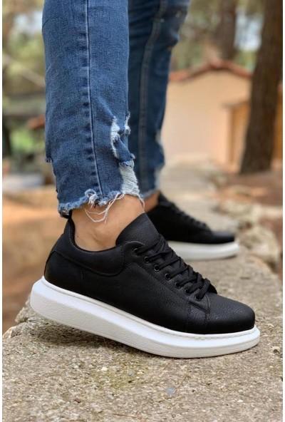 Knack Yüksek Taban Günlük Ayakkabı 044 Siyah (Beyaz Taban)