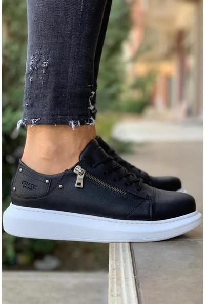 Knack Yüksek Taban Günlük Ayakkabı 555 Siyah (Beyaz Taban)