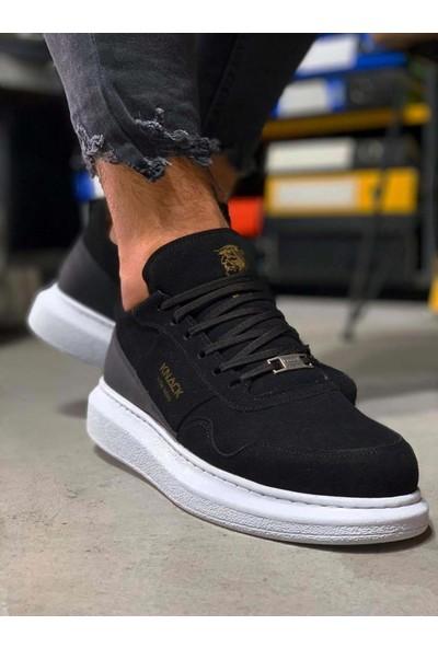 Knack Yüksek Taban Günlük Süet Ayakkabı 040 Siyah (Beyaz Taban)