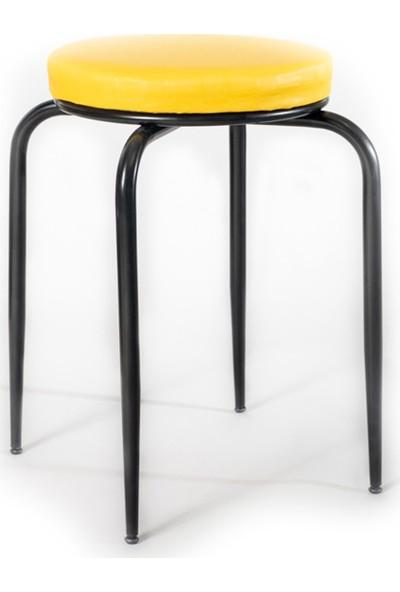 Ekip Shop Siyah Ayaklı Tabure Mutfak Sandalyesi Sarı