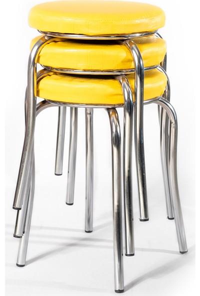 Ekip Shop Tabure Mutfak Sandalyesi 3 Adet Sarı