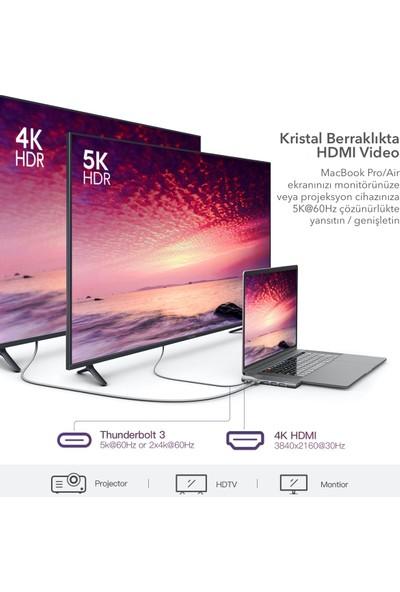 Dodocool DC73 8in2 Alüminyum MacBook Pro Air 5k Ultra HDMI 1gbps Ethernet Hub