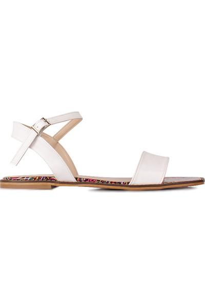 Loggalin 111602 960 Kadın Beyaz Sandalet