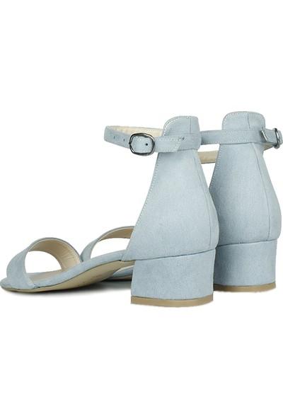 Loggalin 520033 423 Kadın Bebe Mavi Süet Topuklu Ayakkabı