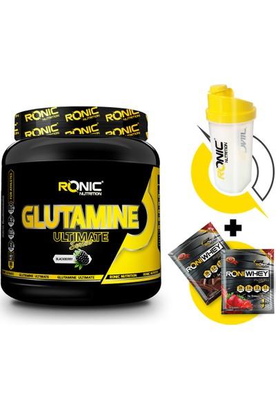 Glutamine Ultimate 900 gr (Böğürtlen Aromalı) + Shaker ve 2 Adet Tek Kullanımlık Whey Protein