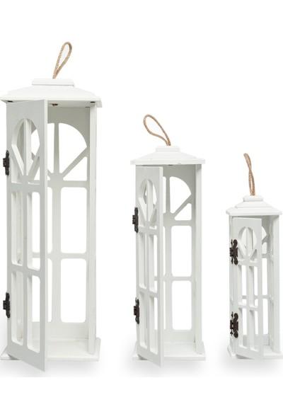 Meleni Home Lüx Tasarım Ahşap 3'lü Dekoratif Mumluk Fener Beyaz