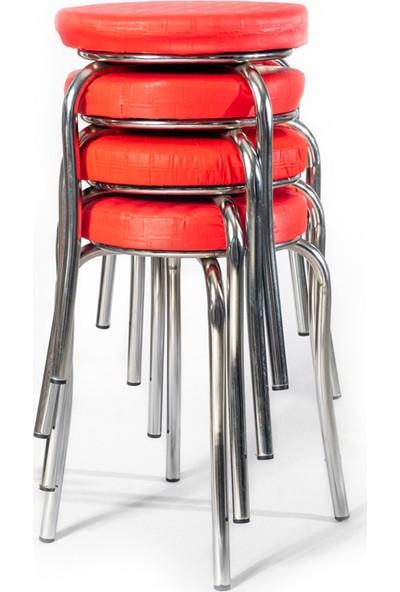Tabure Mutfak Sandalyesi 4 Adet Kırmızı