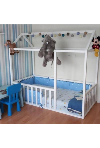 Baby Kinder Beyaz Montessori Bebek Çocuk Karyolası 90 x 190 cm