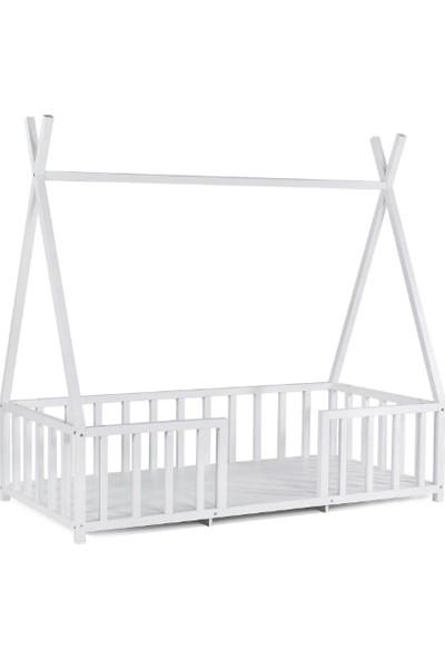 Baby Kinder Kızıldereli Beyaz Montessori Bebek Çocuk Karyolası 90 x 190 cm