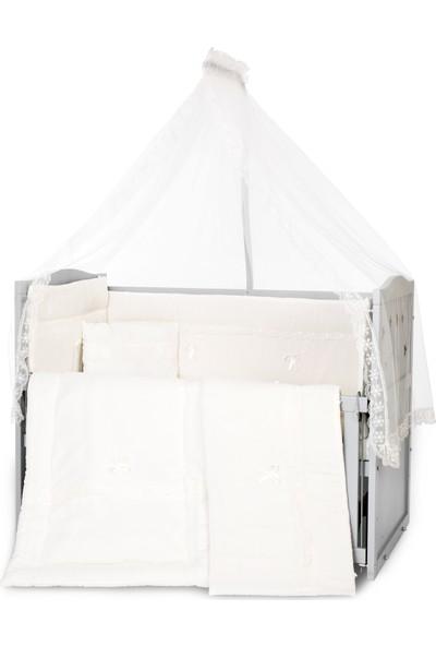 Bamgidoo Lake Yıldızlı 3 Kademeli Anne Yanı Beşik 60 x 120 cm + Krem Güpürlü Uyku Seti + Yatak