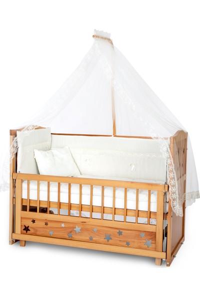 Bamgidoo Ahşap Yıldızlı 3 Kademeli Anne Yanı Beşik 60 x 120 cm + Krem Güpürlü Uyku Seti + Yatak