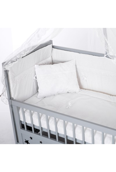 Bamgidoo Lake Gri Yıldızlı 3 Kademeli Anne Yanı Beşik 60 x 120 cm + Beyaz Güpürlü Uyku Seti + Yatak