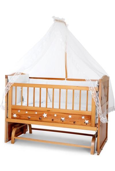 Bamgidoo Ahşap Yıldızlı 3 Kademeli Anne Yanı Beşik 60 x 120 cm + Beyaz Güpürlü Uyku Seti + Yatak
