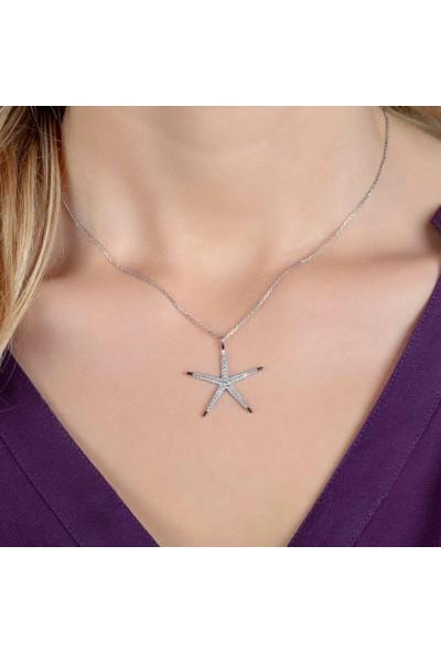 Afrodit Silver Deniz Yıldızı Tasarım Gümüş Kadın Kolye