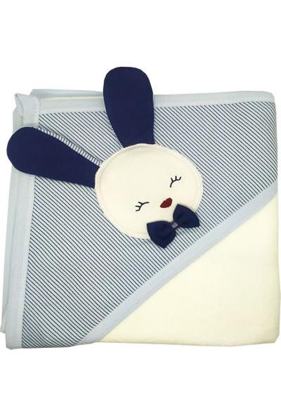 AlpCollection Tavşan Desenli Bebek Banyo Havlusu - Mavi