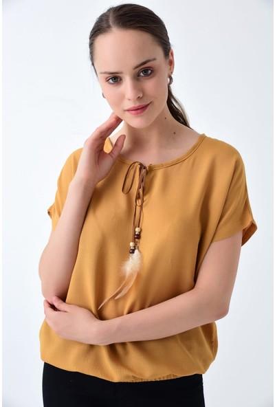 Miss Lusi 92210128 Keten Yakası Tüy Ip Bağlama Maximo Yarasa Kol Bluz Hardal