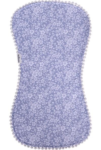 Miniyoki Jasmine Mavi Omuz Bezi - Çiçek Desenli Ponpon Şeritli