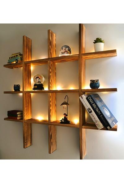 Webotto Ahşap LED Işıklı Dekoratif Çoklu Duvar Rafı Kitaplık