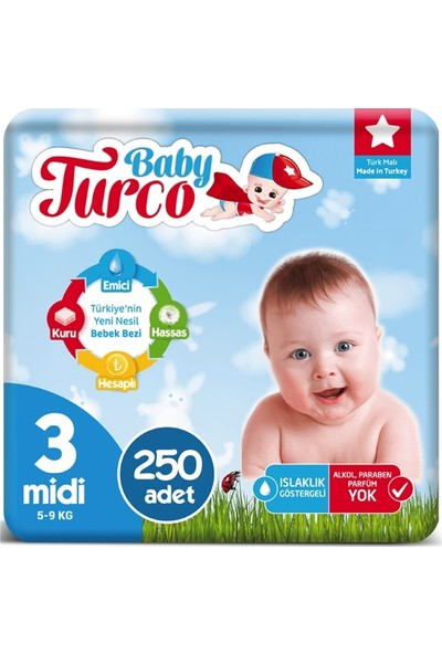 Baby Turco 3 Numara Bebek Bezi 5-9 kg Midi 250 Adet