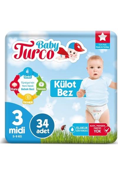 Baby Turco 3 Numara Külot Bez 5-9 kg Midi 34 Adet