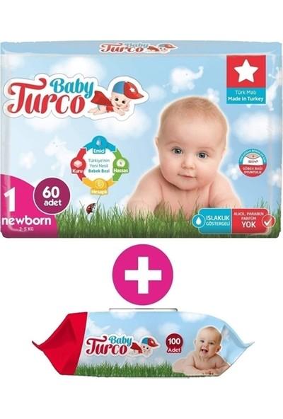 Baby Turco 1 Numara Bebek Bezi 2-5 kg Yenidoğan (Newborn) 60 Adet + Islak Havlu 100 Yaprak