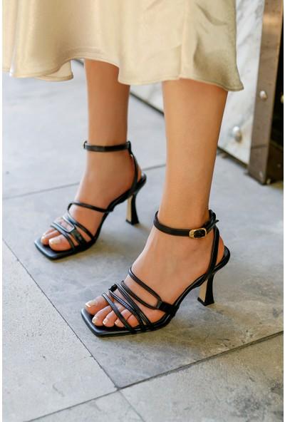 My Poppi Shoes Siyah Cilt Topuklu Ayakkabı Fabio