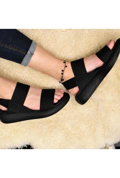 Keçeli Siyah Comfort Kadın Sandalet