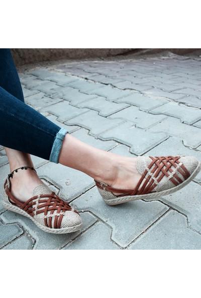 Keçeli Vizon Taba Kadın Sandalet