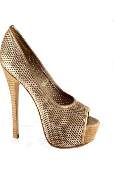 Gianna Melani Kadın Topuklu Ayakkabı Altın 19808