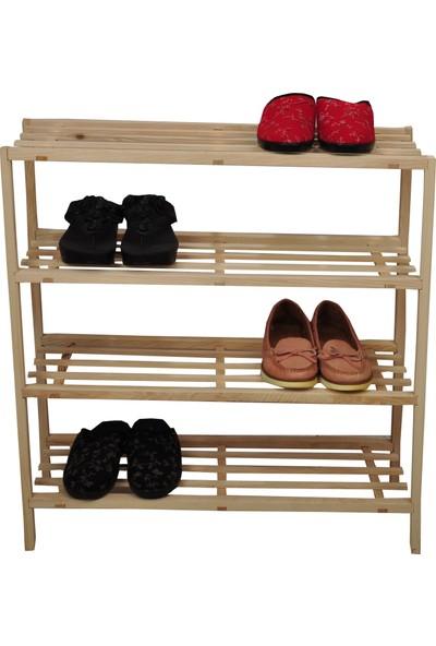 Hilsem Mobilya Ahşap 4'lü Katlı Ayakkabılık