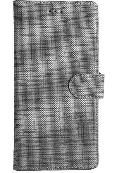 CoverZone Samsung Galaxy M31 Standlı Kartvizitli ve Para Gözlü Kumaş Desen Gri