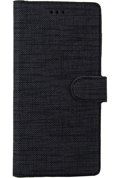 CoverZone Samsung Galaxy M31 Standlı Kartvizitli ve Para Gözlü Kumaş Desen Siyah