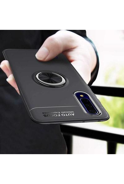 Mor Aksesuar Huawei P Smart Pro 2019 Kılıf Yüzüklü Standlı Tam koruma Silikon Siyah - Kırmızı