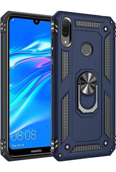 Mor Aksesuar Huawei Y7 2019 Lite Kılıf Yüzüklü Standlı Tank Zırh Silikon Mavi