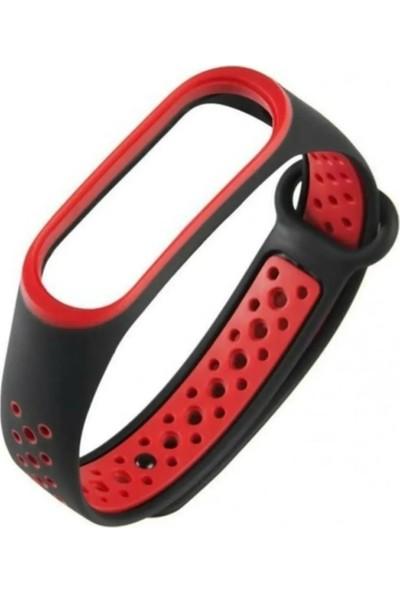 Sporty Mi Band 3/4 Akıllı Bileklik Spor Kordon - Siyah Kırmızı