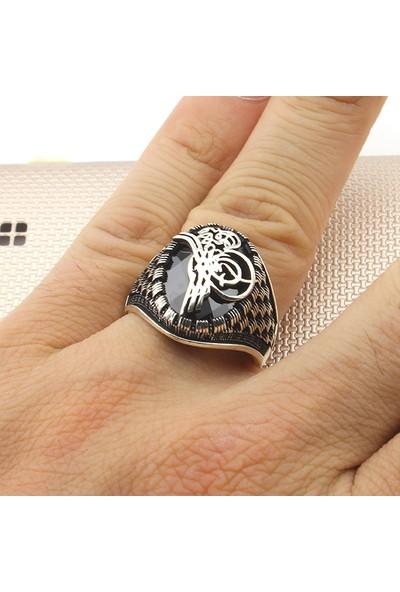 Prestige Gümüş Erkek Yüzük Tuğralı Zirkon Taşlı Nano Taş Süslemeli