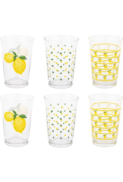 Tantitoni 6 Parça Limon Desenli Su Bardağı Takımı
