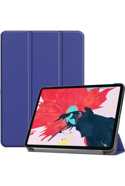 Happyshop Apple iPad Pro 12.9 2020 Kılıf Arkası Şeffaf Standlı Kapaklı Smart Case